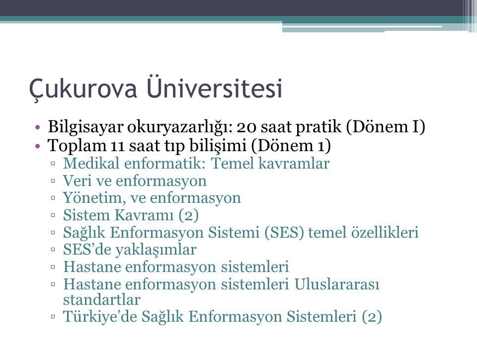 Çukurova Üniversitesi Bilgisayar okuryazarlığı: 20 saat pratik (Dönem I) Toplam 11 saat tıp bilişimi (Dönem 1) ▫Medikal enformatik: Temel kavramlar ▫V