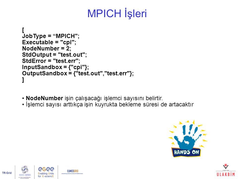 MPICH İşleri [ JobType = MPICH ; Executable = cpi ; NodeNumber = 2; StdOutput = test.out ; StdError = test.err ; InputSandbox = { cpi }; OutputSandbox = { test.out , test.err }; ] NodeNumber işin çalışacağı işlemci sayısını belirtir.