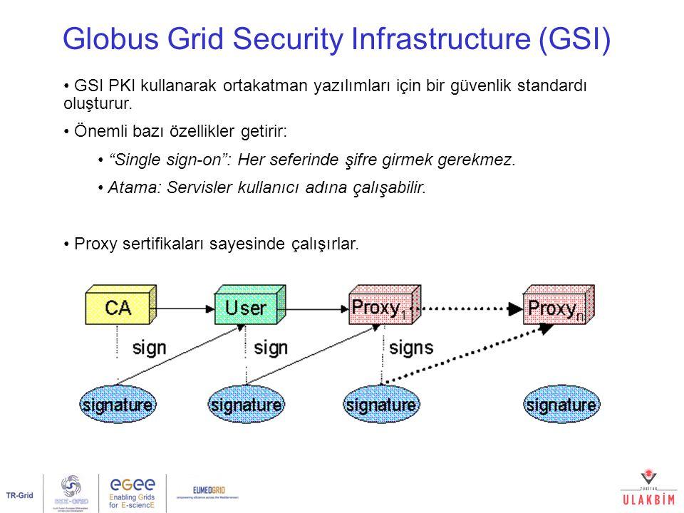 Globus Grid Security Infrastructure (GSI) GSI PKI kullanarak ortakatman yazılımları için bir güvenlik standardı oluşturur.