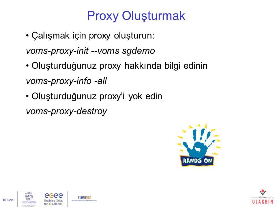 Proxy Oluşturmak Çalışmak için proxy oluşturun: voms-proxy-init --voms sgdemo Oluşturduğunuz proxy hakkında bilgi edinin voms-proxy-info -all Oluşturduğunuz proxy'i yok edin voms-proxy-destroy