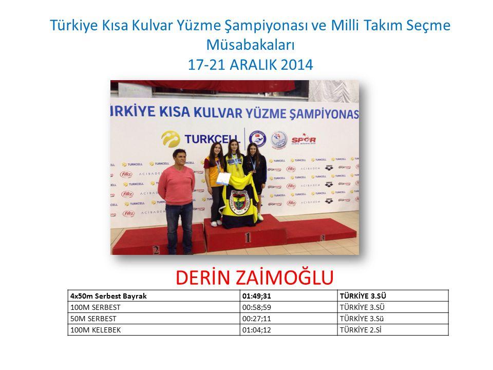 DEFNE ÇELTİKÇİ Türkiye Kısa Kulvar Yüzme Şampiyonası ve Milli Takım Seçme Müsabakaları 17-21 ARALIK 2014 TAKIM15-16 YAŞ BAYANLARTÜRKİYE 3.SÜ 4x50m Serbest01:55;07TÜRKİYE 3.SÜ 100m Kurbağalama01:14;47TÜRKİYE 3.SÜ 50m Kurbağalama00:33;96TÜRKİYE 2.Si
