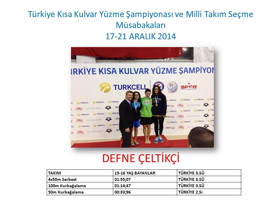 DEFNE ÇELTİKÇİ Türkiye Kısa Kulvar Yüzme Şampiyonası ve Milli Takım Seçme Müsabakaları 17-21 ARALIK 2014 TAKIM15-16 YAŞ BAYANLARTÜRKİYE 3.SÜ 4x50m Ser