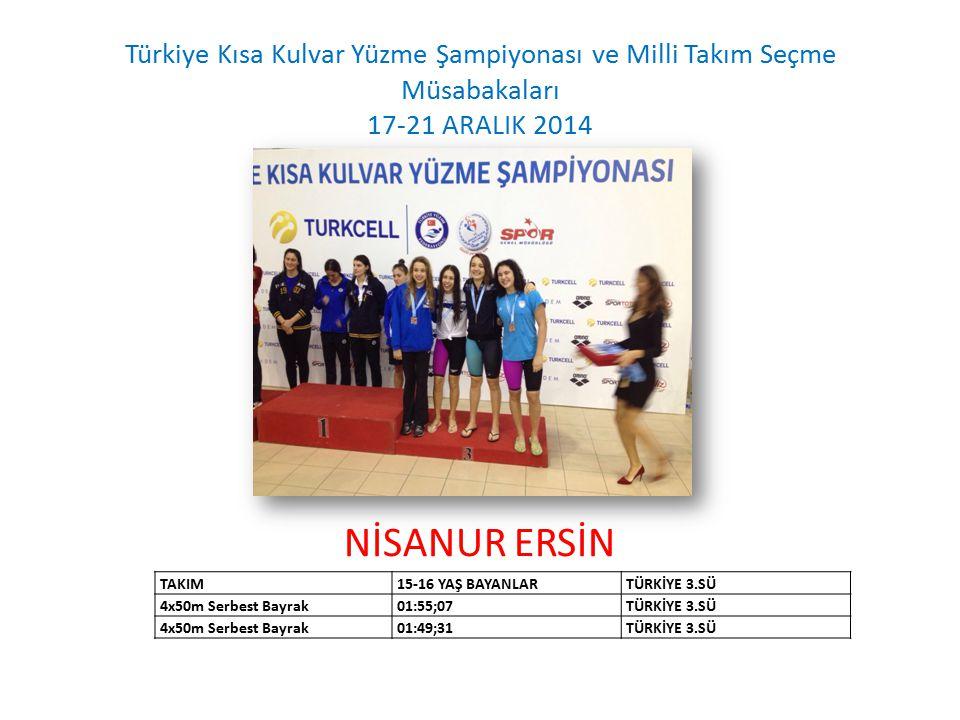 NİSANUR ERSİN Türkiye Kısa Kulvar Yüzme Şampiyonası ve Milli Takım Seçme Müsabakaları 17-21 ARALIK 2014 TAKIM15-16 YAŞ BAYANLARTÜRKİYE 3.SÜ 4x50m Serbest Bayrak01:55;07TÜRKİYE 3.SÜ 4x50m Serbest Bayrak01:49;31TÜRKİYE 3.SÜ