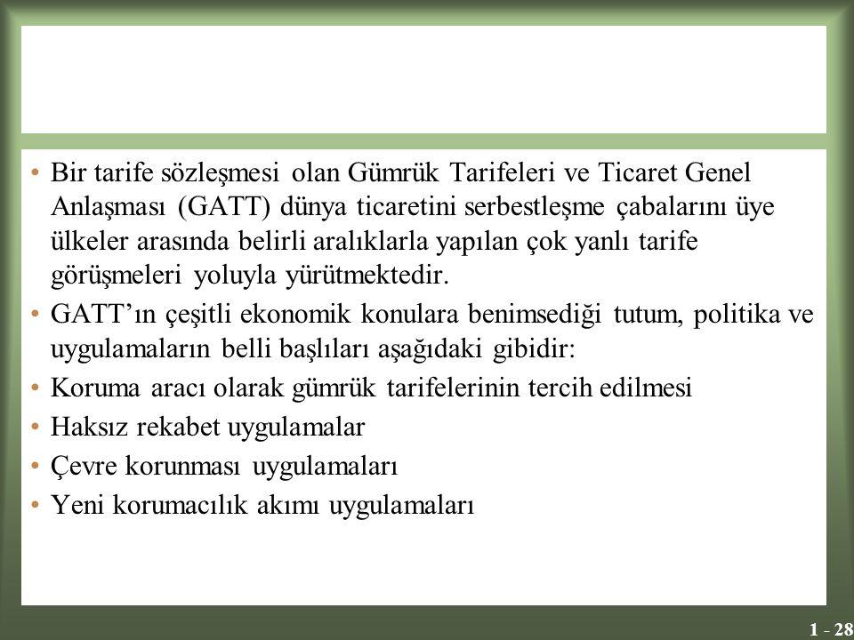 1 - 28 Bir tarife sözleşmesi olan Gümrük Tarifeleri ve Ticaret Genel Anlaşması (GATT) dünya ticaretini serbestleşme çabalarını üye ülkeler arasında be