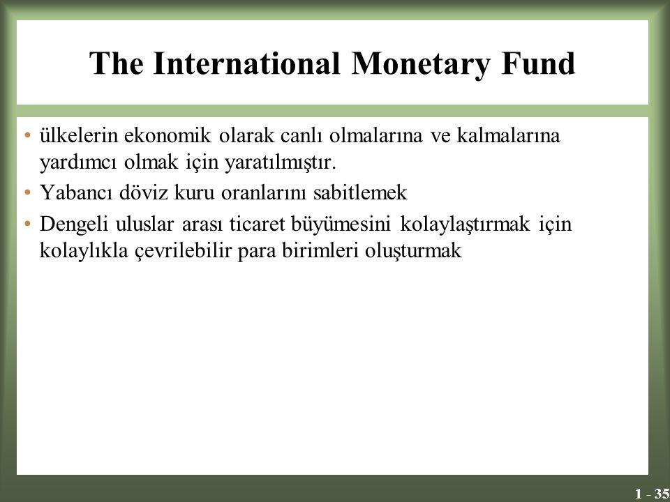 1 - 35 The International Monetary Fund ülkelerin ekonomik olarak canlı olmalarına ve kalmalarına yardımcı olmak için yaratılmıştır. Yabancı döviz kuru