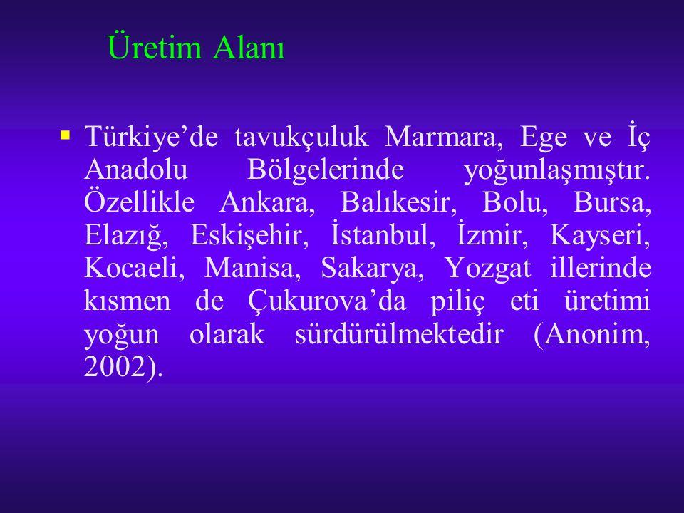 Üretim Alanı  Türkiye'de tavukçuluk Marmara, Ege ve İç Anadolu Bölgelerinde yoğunlaşmıştır. Özellikle Ankara, Balıkesir, Bolu, Bursa, Elazığ, Eskişeh