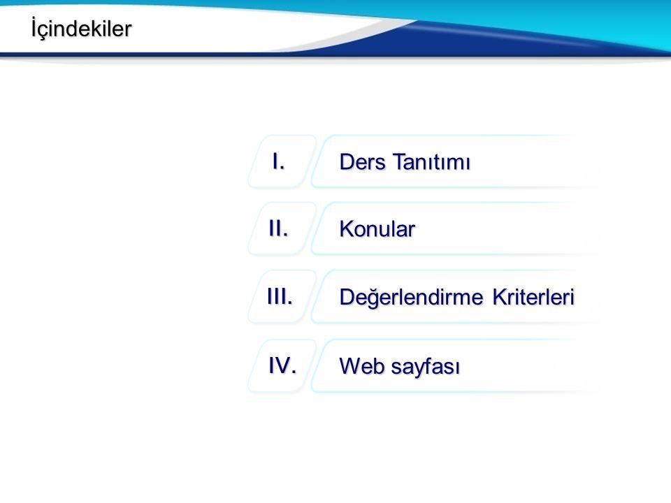 İçindekiler Ders Tanıtımı I. Konular II. Değerlendirme Kriterleri III. Web sayfası IV.