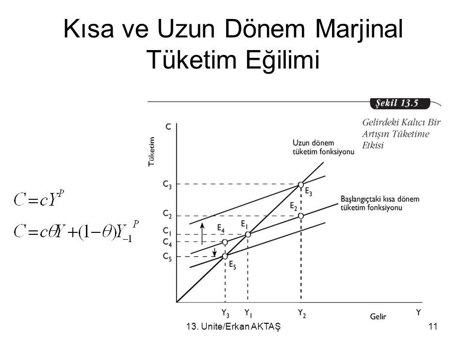 13. Ünite/Erkan AKTAŞ11 Kısa ve Uzun Dönem Marjinal Tüketim Eğilimi