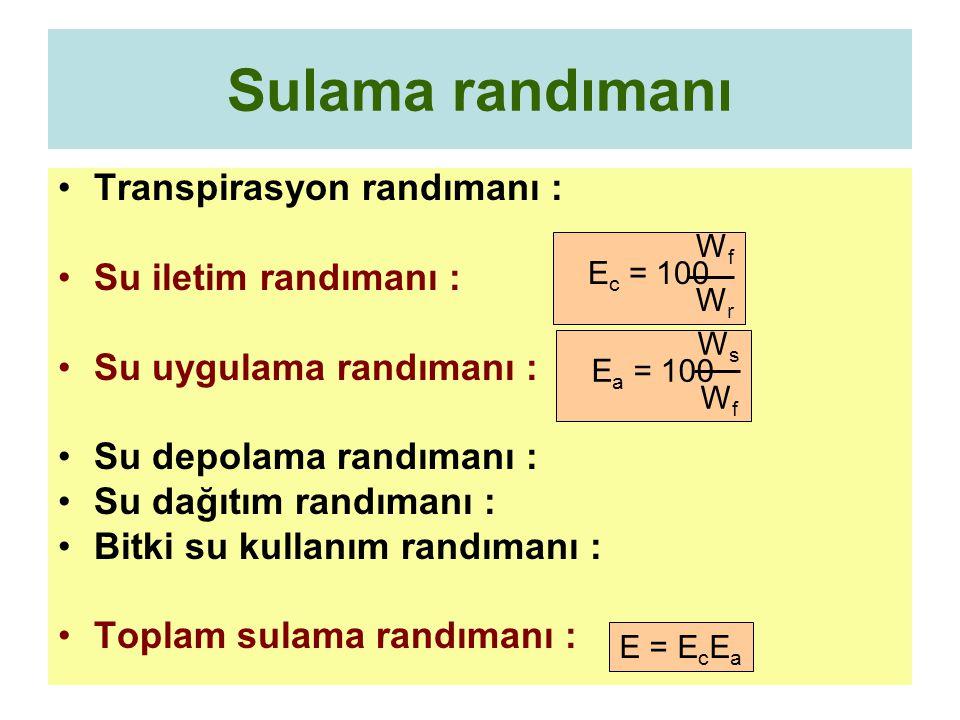 Sulama randımanı Transpirasyon randımanı : Su iletim randımanı : Su uygulama randımanı : Su depolama randımanı : Su dağıtım randımanı : Bitki su kullanım randımanı : Toplam sulama randımanı : W f E c = 100 W r W s E a = 100 W f E = E c E a