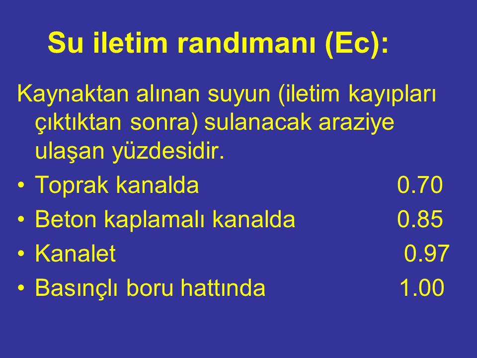 Su iletim randımanı (Ec): Kaynaktan alınan suyun (iletim kayıpları çıktıktan sonra) sulanacak araziye ulaşan yüzdesidir.