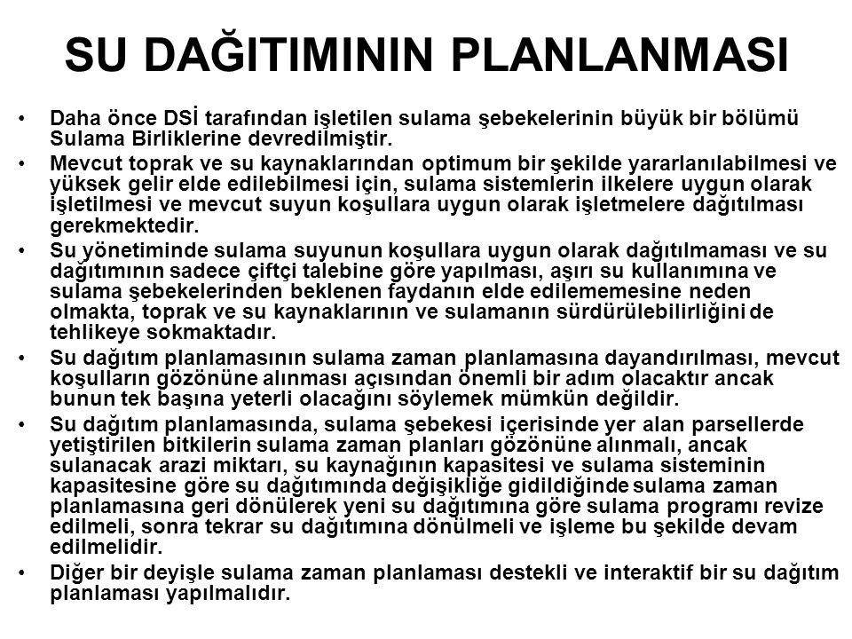 SU DAĞITIMININ PLANLANMASI Daha önce DSİ tarafından işletilen sulama şebekelerinin büyük bir bölümü Sulama Birliklerine devredilmiştir.
