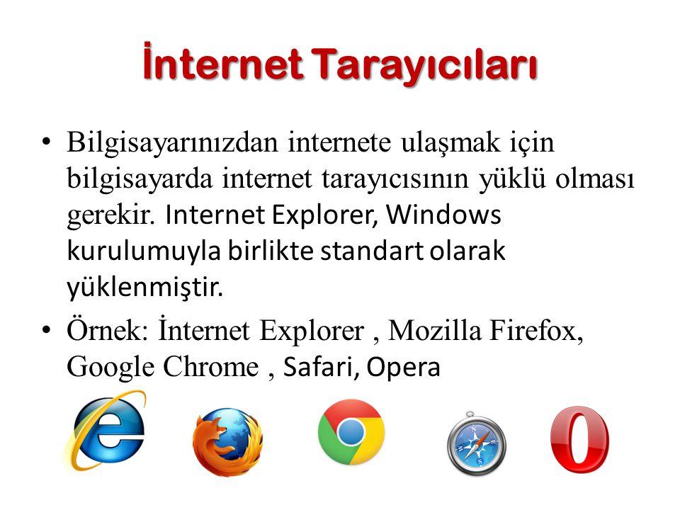 Bilgisayarınızdan internete ulaşmak için bilgisayarda internet tarayıcısının yüklü olması gerekir. Internet Explorer, Windows kurulumuyla birlikte sta