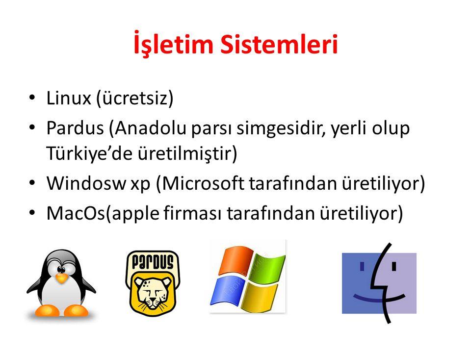 İşletim Sistemleri Linux (ücretsiz) Pardus (Anadolu parsı simgesidir, yerli olup Türkiye'de üretilmiştir) Windosw xp (Microsoft tarafından üretiliyor)