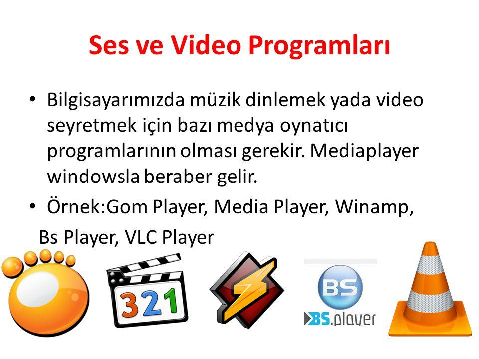 Ses ve Video Programları Bilgisayarımızda müzik dinlemek yada video seyretmek için bazı medya oynatıcı programlarının olması gerekir. Mediaplayer wind