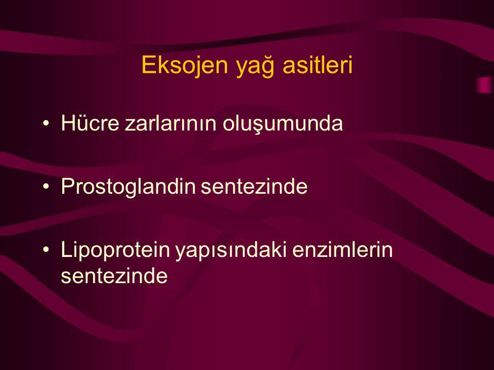 Eksojen yağ asitleri Hücre zarlarının oluşumunda Prostoglandin sentezinde Lipoprotein yapısındaki enzimlerin sentezinde