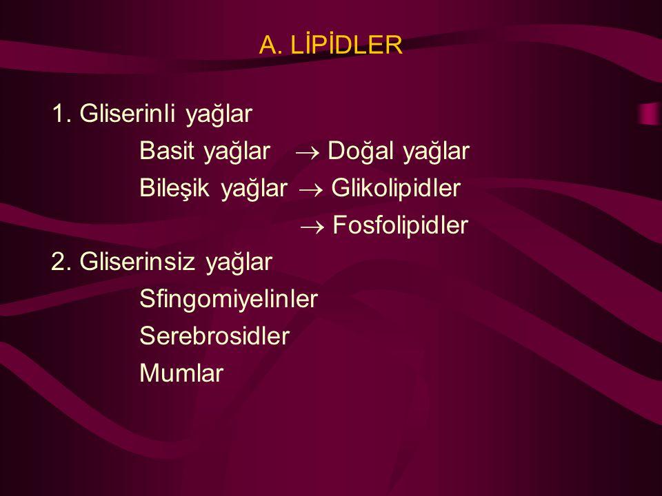 A. LİPİDLER 1. Gliserinli yağlar Basit yağlar  Doğal yağlar Bileşik yağlar  Glikolipidler  Fosfolipidler 2. Gliserinsiz yağlar Sfingomiyelinler Ser
