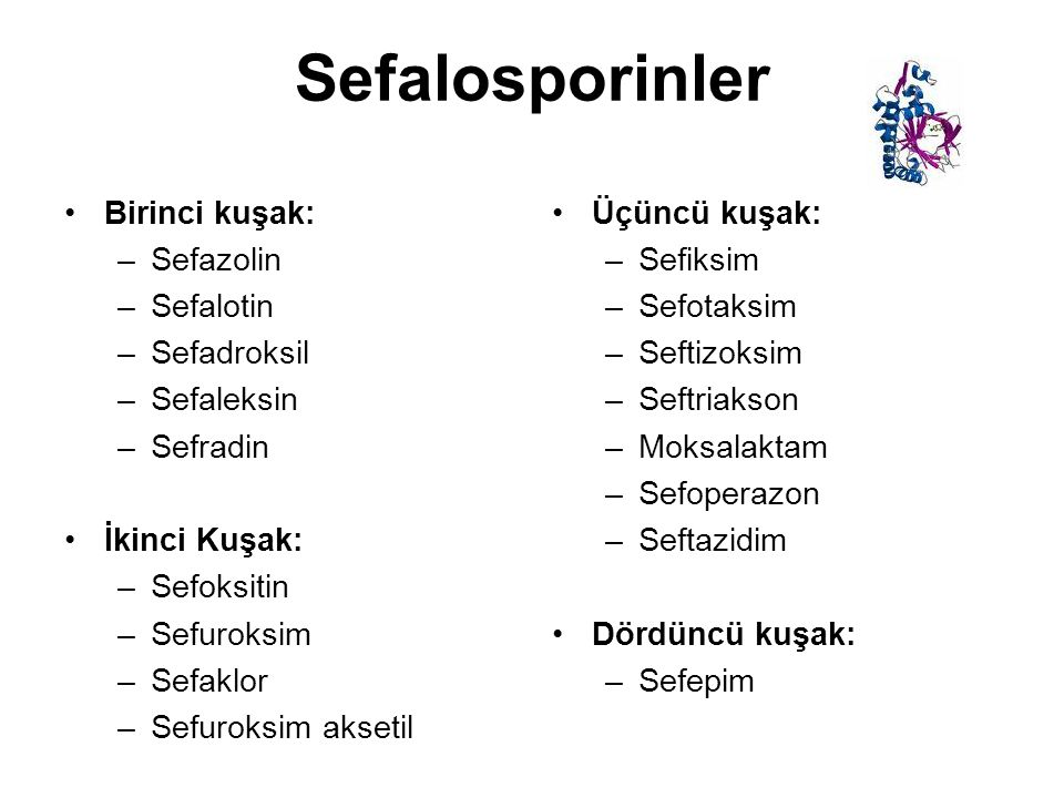 Sefalosporinler Birinci kuşak: –Sefazolin –Sefalotin –Sefadroksil –Sefaleksin –Sefradin İkinci Kuşak: –Sefoksitin –Sefuroksim –Sefaklor –Sefuroksim ak