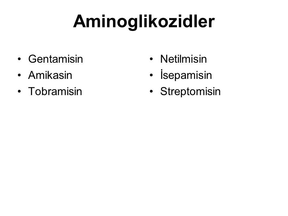 Aminoglikozidler Gentamisin Amikasin Tobramisin Netilmisin İsepamisin Streptomisin