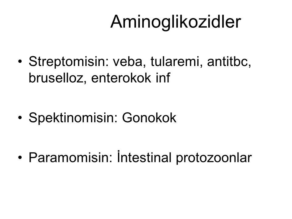 Aminoglikozidler Streptomisin: veba, tularemi, antitbc, bruselloz, enterokok inf Spektinomisin: Gonokok Paramomisin: İntestinal protozoonlar