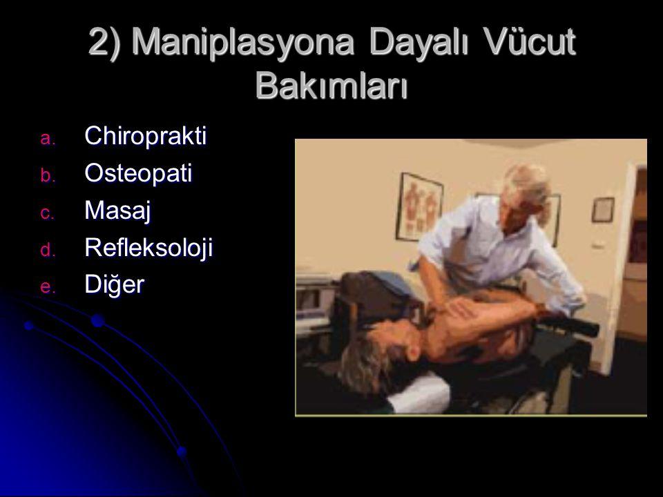 2) Maniplasyona Dayalı Vücut Bakımları a. Chiroprakti b. Osteopati c. Masaj d. Refleksoloji e. Diğer