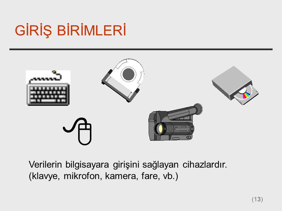 (13) GİRİŞ BİRİMLERİ Verilerin bilgisayara girişini sağlayan cihazlardır. (klavye, mikrofon, kamera, fare, vb.) 