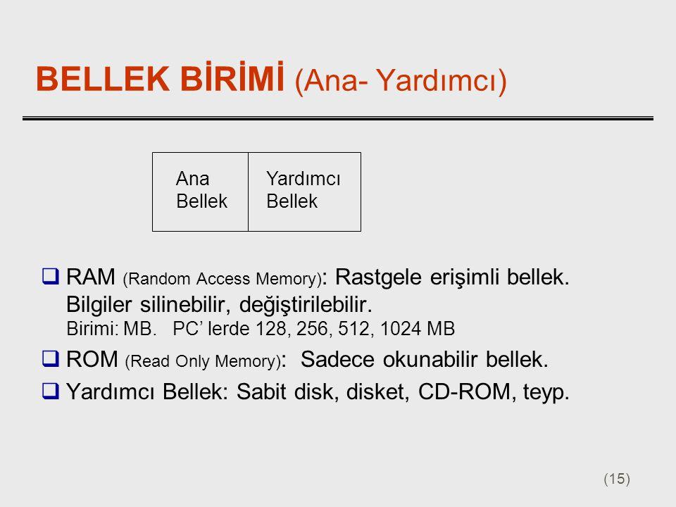 (15) BELLEK BİRİMİ (Ana- Yardımcı)  RAM (Random Access Memory) : Rastgele erişimli bellek. Bilgiler silinebilir, değiştirilebilir. Birimi: MB. PC' le