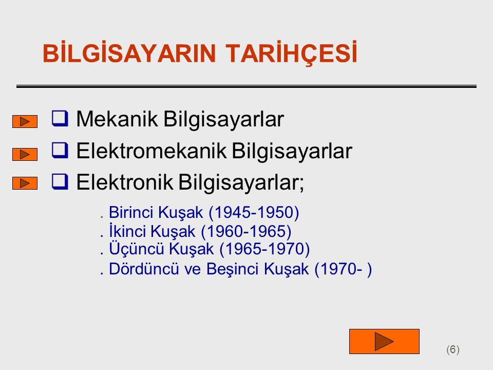 (6) BİLGİSAYARIN TARİHÇESİ  Mekanik Bilgisayarlar  Elektromekanik Bilgisayarlar  Elektronik Bilgisayarlar;. Birinci Kuşak (1945-1950). İkinci Kuşak