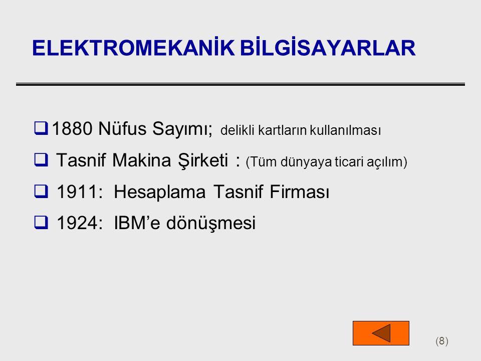 (9) ELEKTRONİK BİLGİSAYARLAR  1924: IBM: Otomatik Sıralı-Kontrol Hesap Makinası  1937: Harward Mark I (Sadece hesap makinası)  1938: İlk Elektronik Bilgisayar Dizaynı: Iowa Üniv.