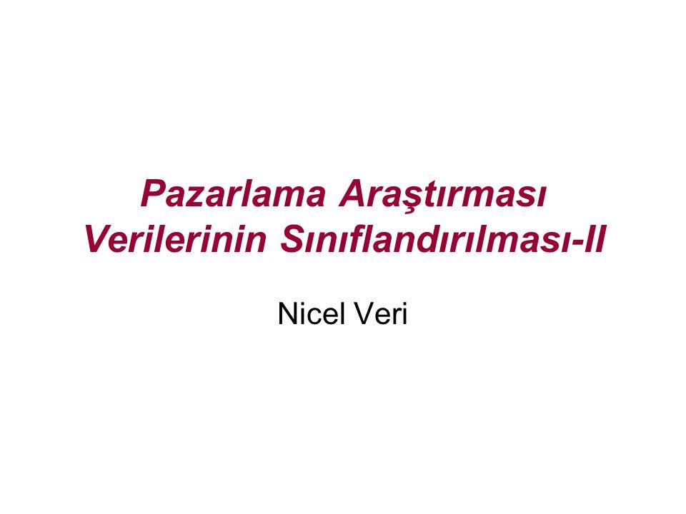 Pazarlama Araştırması Verilerinin Sınıflandırılması-II Nicel Veri