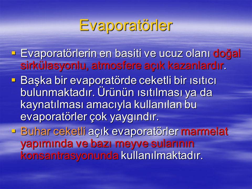 Evaporatörler  Evaporatörlerin en basiti ve ucuz olanı doğal sirkülasyonlu, atmosfere açık kazanlardır.