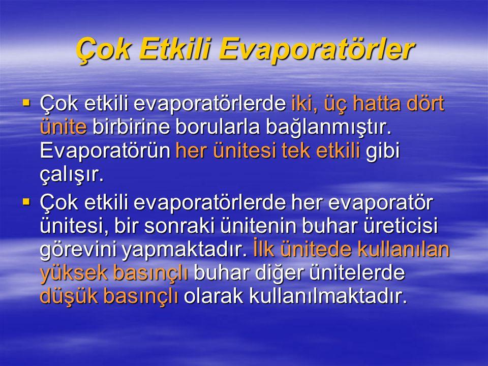Çok Etkili Evaporatörler  Çok etkili evaporatörlerde iki, üç hatta dört ünite birbirine borularla bağlanmıştır.