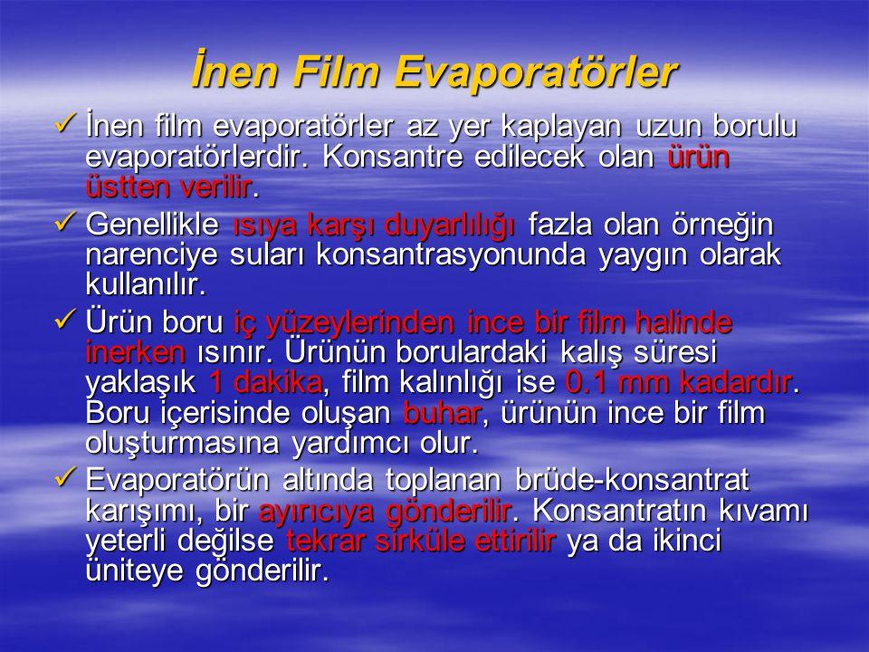 İnen Film Evaporatörler İnen film evaporatörler az yer kaplayan uzun borulu evaporatörlerdir.