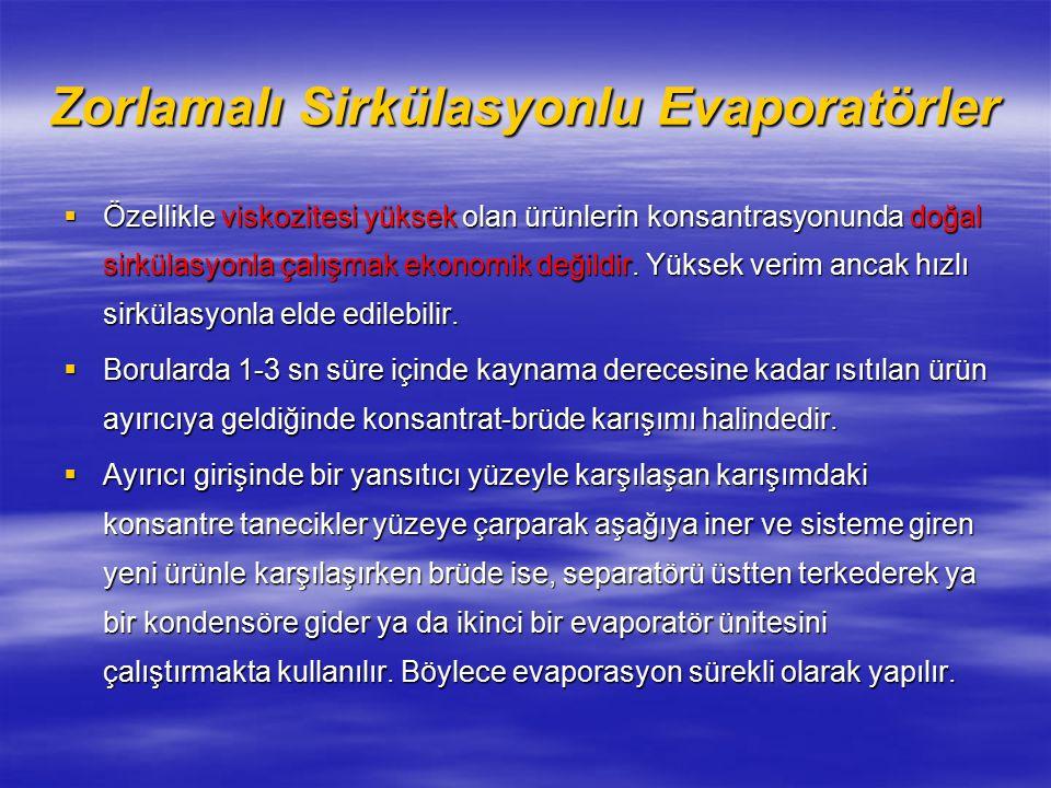 Zorlamalı Sirkülasyonlu Evaporatörler  Özellikle viskozitesi yüksek olan ürünlerin konsantrasyonunda doğal sirkülasyonla çalışmak ekonomik değildir.