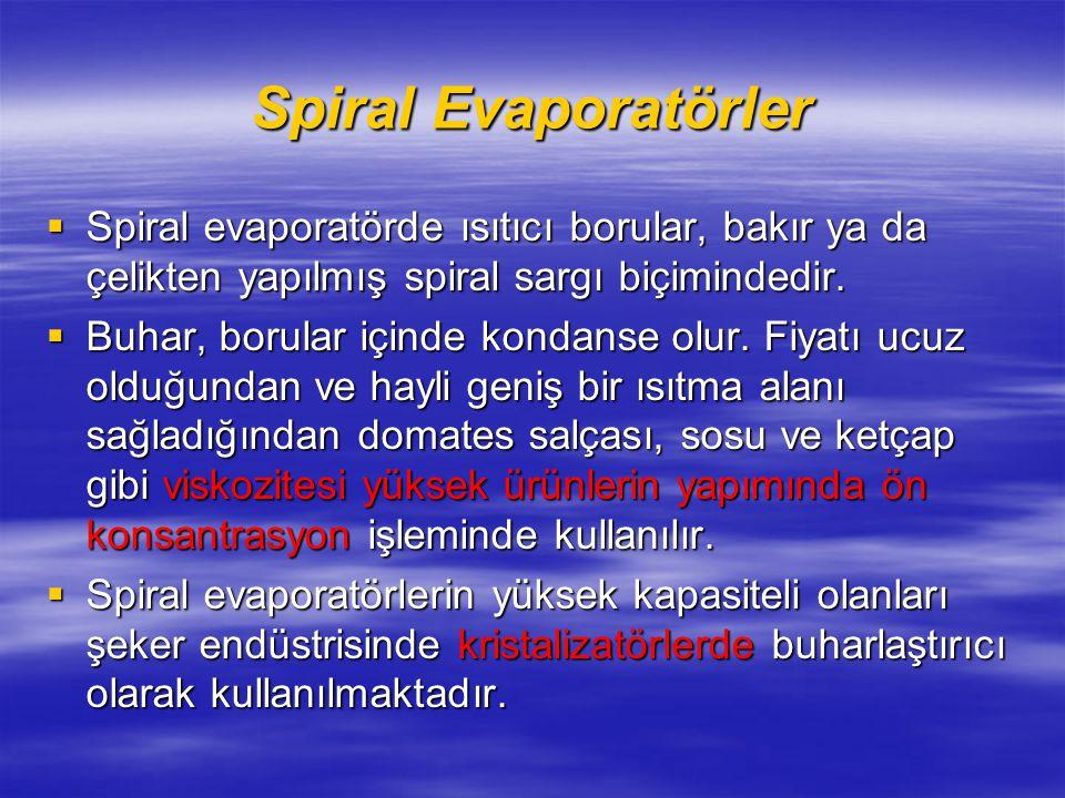 Spiral Evaporatörler  Spiral evaporatörde ısıtıcı borular, bakır ya da çelikten yapılmış spiral sargı biçimindedir.
