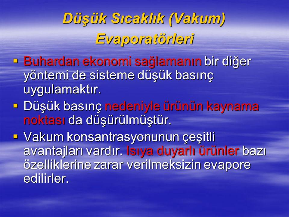 Düşük Sıcaklık (Vakum) Evaporatörleri  Buhardan ekonomi sağlamanın bir diğer yöntemi de sisteme düşük basınç uygulamaktır.