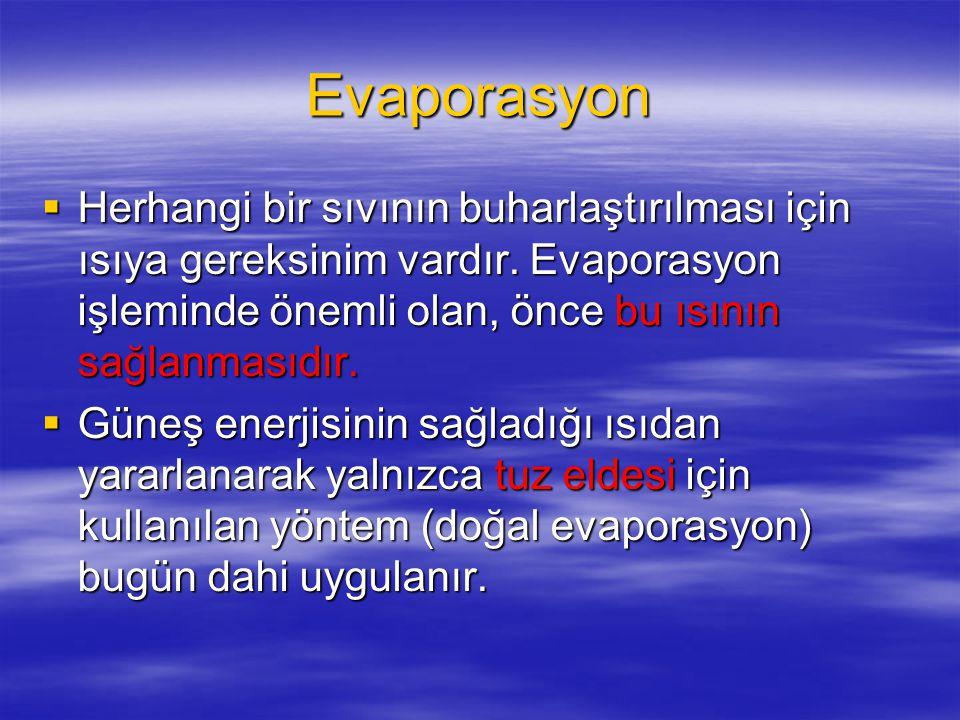 Evaporasyon  Herhangi bir sıvının buharlaştırılması için ısıya gereksinim vardır.