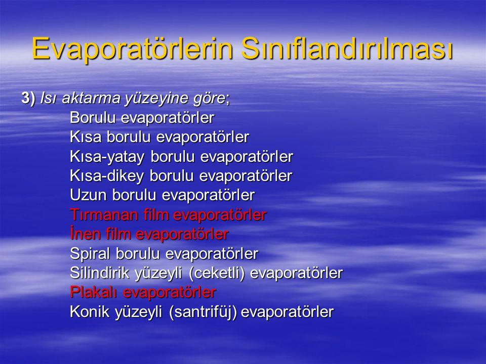 Evaporatörlerin Sınıflandırılması 3) Isı aktarma yüzeyine göre; Borulu evaporatörler Kısa borulu evaporatörler Kısa-yatay borulu evaporatörler Kısa-yatay borulu evaporatörler Kısa-dikey borulu evaporatörler Uzun borulu evaporatörler Tırmanan film evaporatörler İnen film evaporatörler Spiral borulu evaporatörler Silindirik yüzeyli (ceketli) evaporatörler Plakalı evaporatörler Konik yüzeyli (santrifüj) evaporatörler