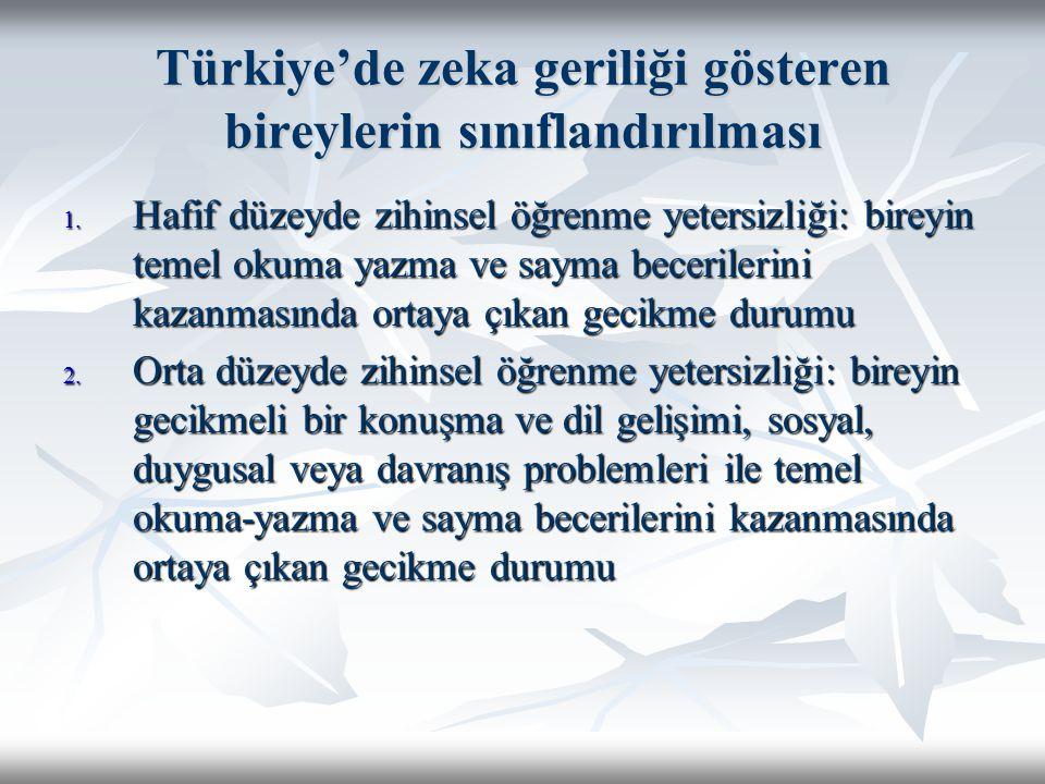 Türkiye'de zeka geriliği gösteren bireylerin sınıflandırılması 1. Hafif düzeyde zihinsel öğrenme yetersizliği: bireyin temel okuma yazma ve sayma bece