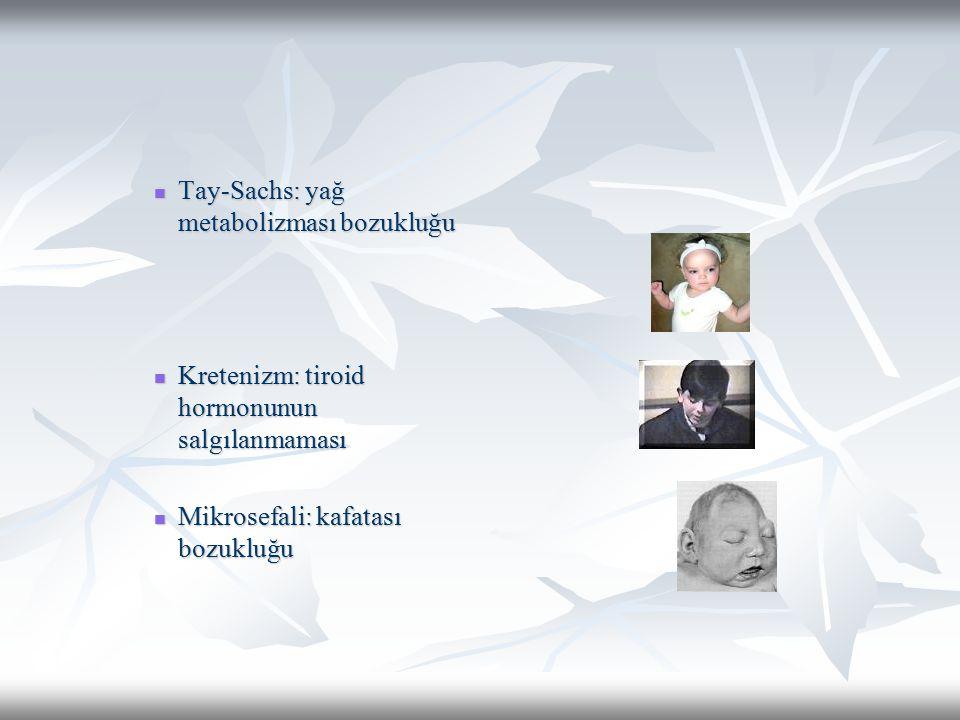 Tay-Sachs: yağ metabolizması bozukluğu Tay-Sachs: yağ metabolizması bozukluğu Kretenizm: tiroid hormonunun salgılanmaması Kretenizm: tiroid hormonunun salgılanmaması Mikrosefali: kafatası bozukluğu Mikrosefali: kafatası bozukluğu