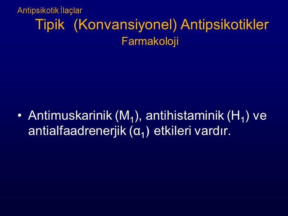Antipsikotik İlaçlar Tipik (Konvansiyonel) Antipsikotikler Farmakoloji Antimuskarinik (M 1 ), antihistaminik (H 1 ) ve antialfaadrenerjik ( α 1 ) etkileri vardır.