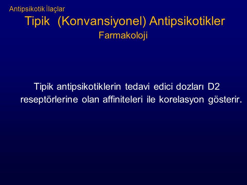Antipsikotik İlaçlar Tipik (Konvansiyonel) Antipsikotikler Farmakoloji Tipik antipsikotiklerin tedavi edici dozları D2 reseptörlerine olan affiniteleri ile korelasyon gösterir.
