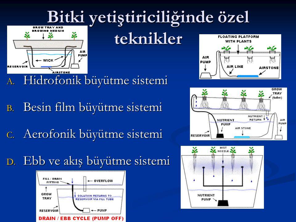 Bitki yetiştiriciliğinde özel teknikler A. Hidrofonik büyütme sistemi B. Besin film büyütme sistemi C. Aerofonik büyütme sistemi D. Ebb ve akış büyütm