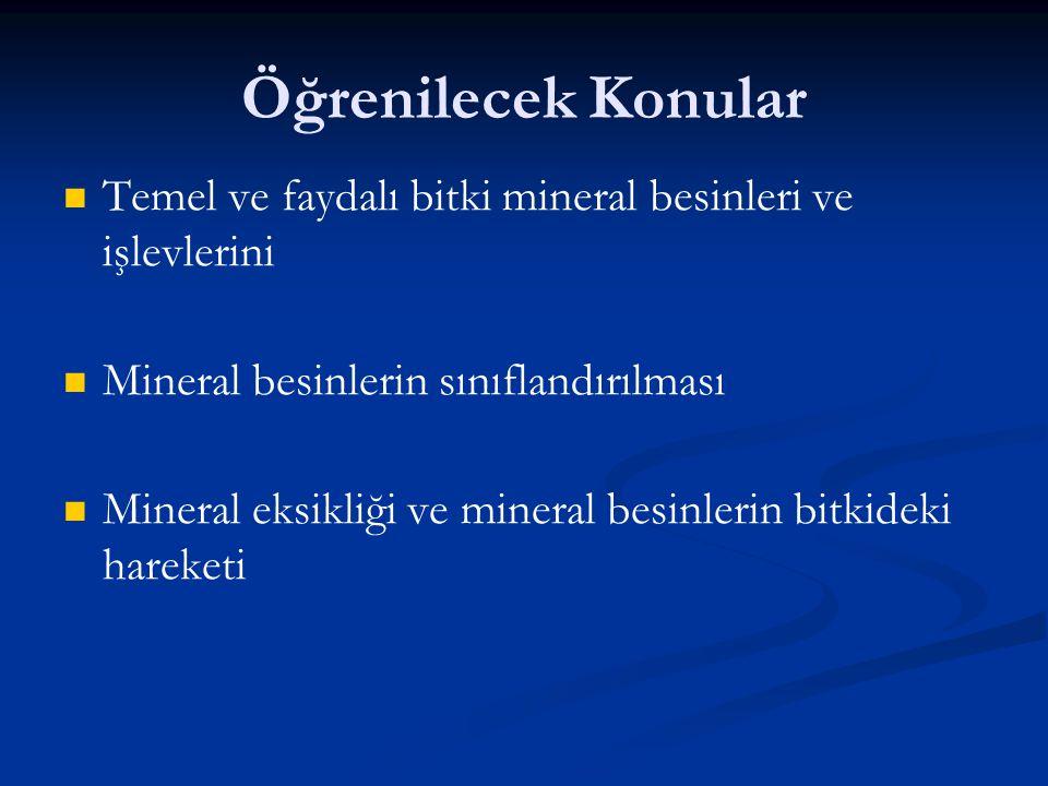 Öğrenilecek Konular Temel ve faydalı bitki mineral besinleri ve işlevlerini Mineral besinlerin sınıflandırılması Mineral eksikliği ve mineral besinler