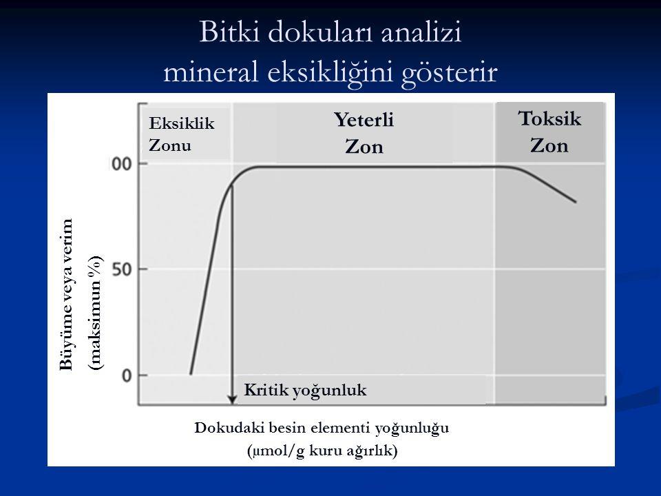 Bitki dokuları analizi mineral eksikliğini gösterir Dokudaki besin elementi yoğunluğu Büyüme veya verim (maksimun %) Eksiklik Zonu Yeterli Zon Toksik