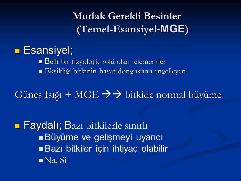 Mutlak Gerekli Besinler (Temel-Esansiyel -MGE ) Esansiyel; Esansiyel; B elli bir fizyolojik rolü olan elementler B elli bir fizyolojik rolü olan eleme