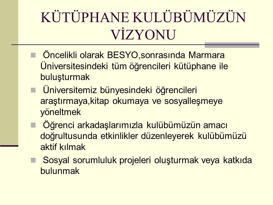 KÜTÜPHANE KULÜBÜMÜZÜN VİZYONU Öncelikli olarak BESYO,sonrasında Marmara Üniversitesindeki tüm öğrencileri kütüphane ile buluşturmak Üniversitemiz bünyesindeki öğrencileri araştırmaya,kitap okumaya ve sosyalleşmeye yöneltmek Öğrenci arkadaşlarımızla kulübümüzün amacı doğrultusunda etkinlikler düzenleyerek kulübümüzü aktif kılmak Sosyal sorumluluk projeleri oluşturmak veya katkıda bulunmak