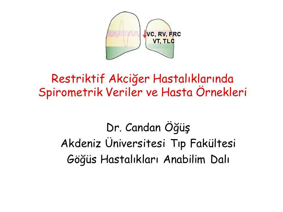 Restriktif Akciğer Hastalıklarında Spirometrik Veriler ve Hasta Örnekleri Dr. Candan Öğüş Akdeniz Üniversitesi Tıp Fakültesi Göğüs Hastalıkları Anabil