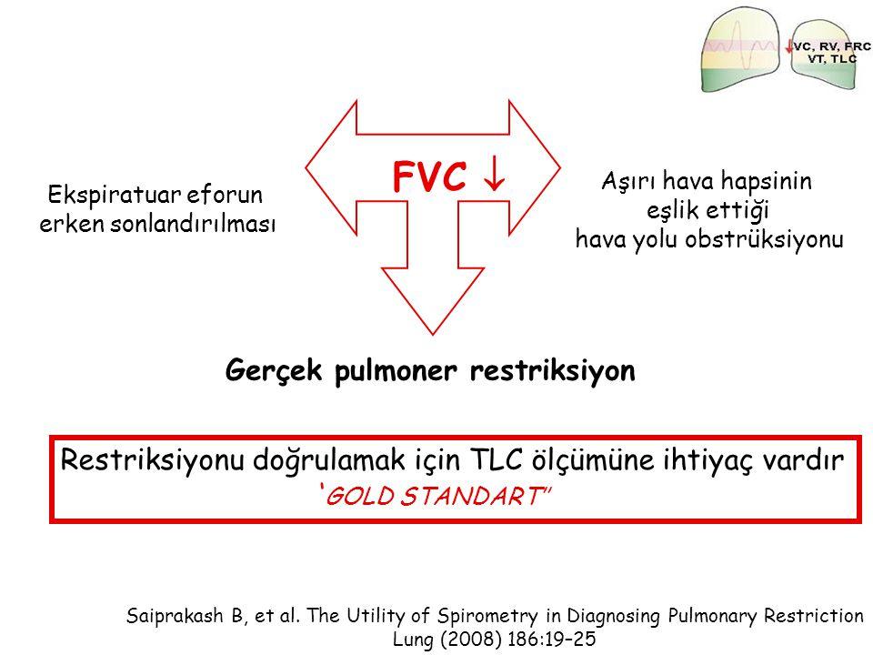FVC  Gerçek pulmoner restriksiyon Aşırı hava hapsinin eşlik ettiği hava yolu obstrüksiyonu Ekspiratuar eforun erken sonlandırılması Saiprakash B, et