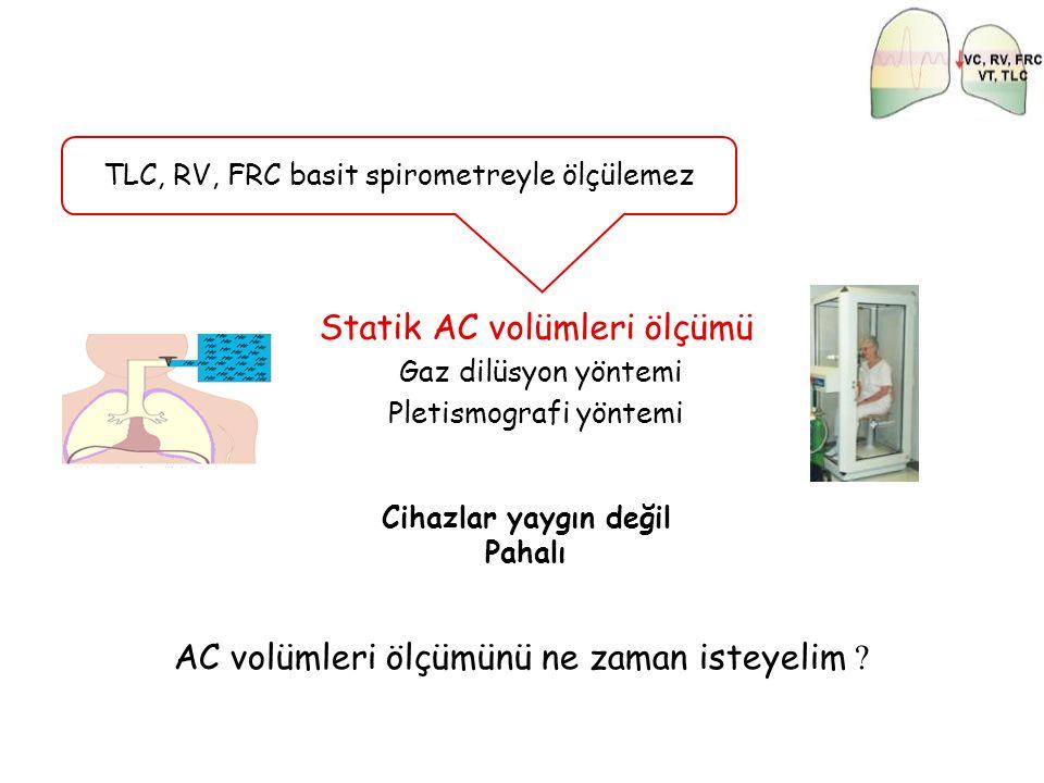 TLC, RV, FRC basit spirometreyle ölçülemez Statik AC volümleri ölçümü Gaz dilüsyon yöntemi Pletismografi yöntemi Cihazlar yaygın değil Pahalı AC volüm