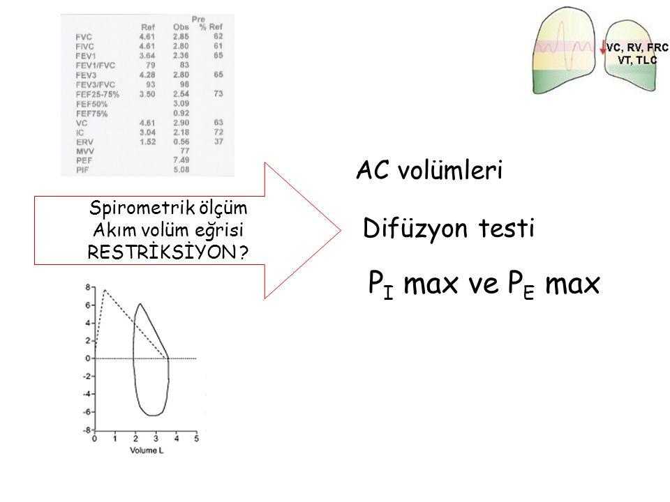 Spirometrik ölçüm Akım volüm eğrisi RESTRİKSİYON ? AC volümleri P I max ve P E max Difüzyon testi
